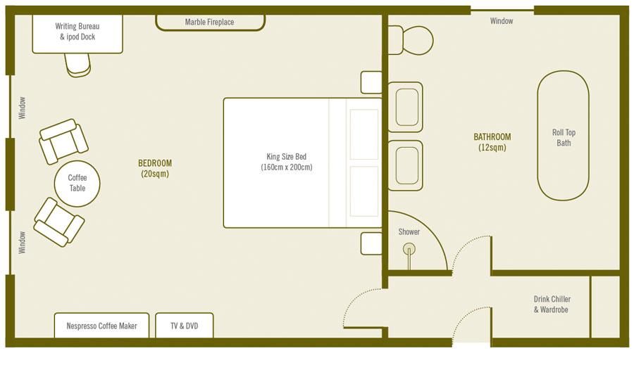 Plan de la Chambre De Luxe a La Villa de Maamet, Chambre et Table D'hote De Luxe Mazamet, Tarn