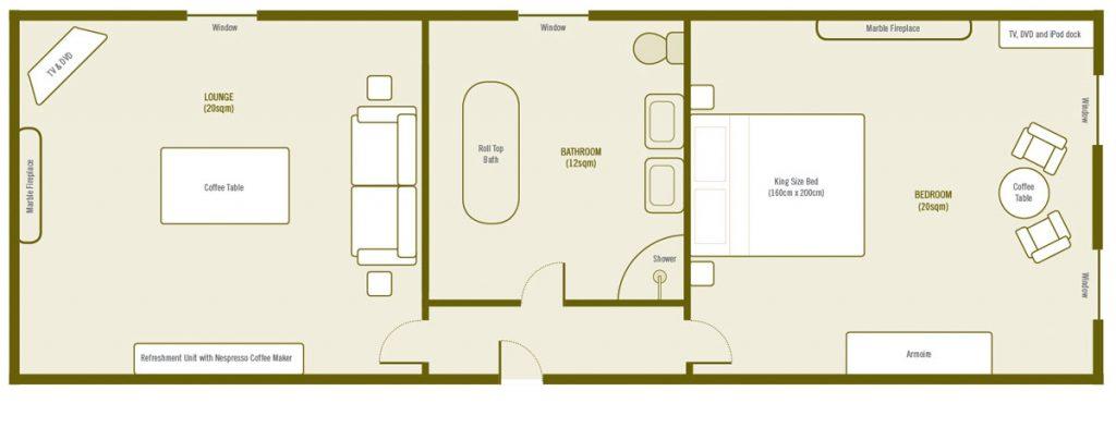 Plan de la Suite De Luxe a La Villa de Maamet, Chambre et Table D'hote De Luxe Mazamet, Tarn