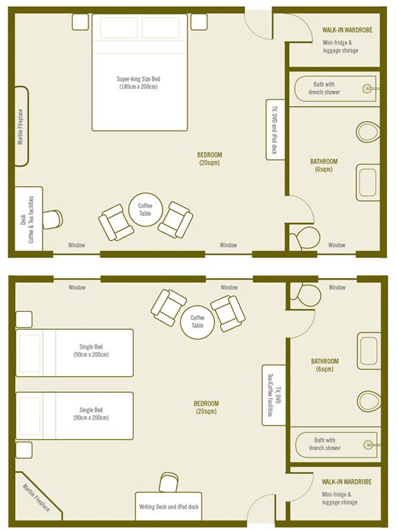 Plan de la Chambre Superieure a La Villa de Maamet, Chambre et Table D'hote De Luxe Mazamet, Tarn