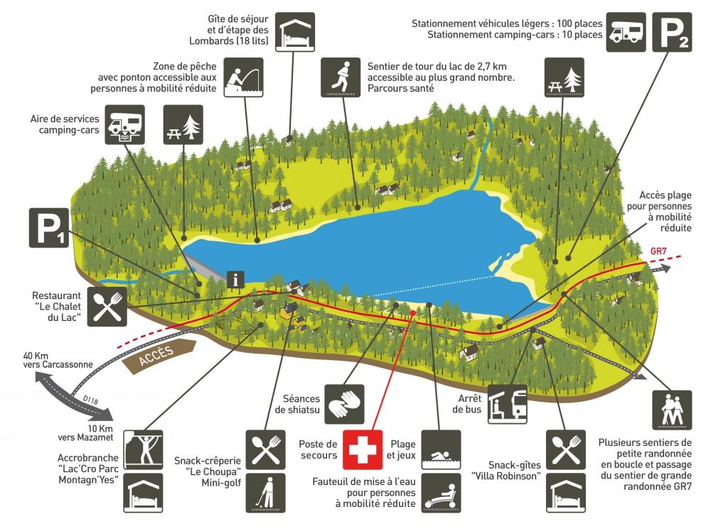 Plan du lac des Montagnès