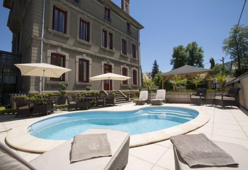 Pool - Low View from Corner Sun Loungers Chambres d'Hôtes Mazamet La Villa de Mazamet Luxury Bed and Breakfast SW France