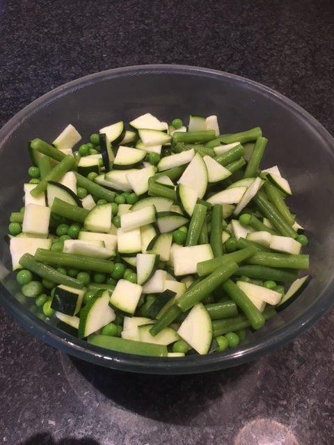 Prepped Veg For Salmon en Filo