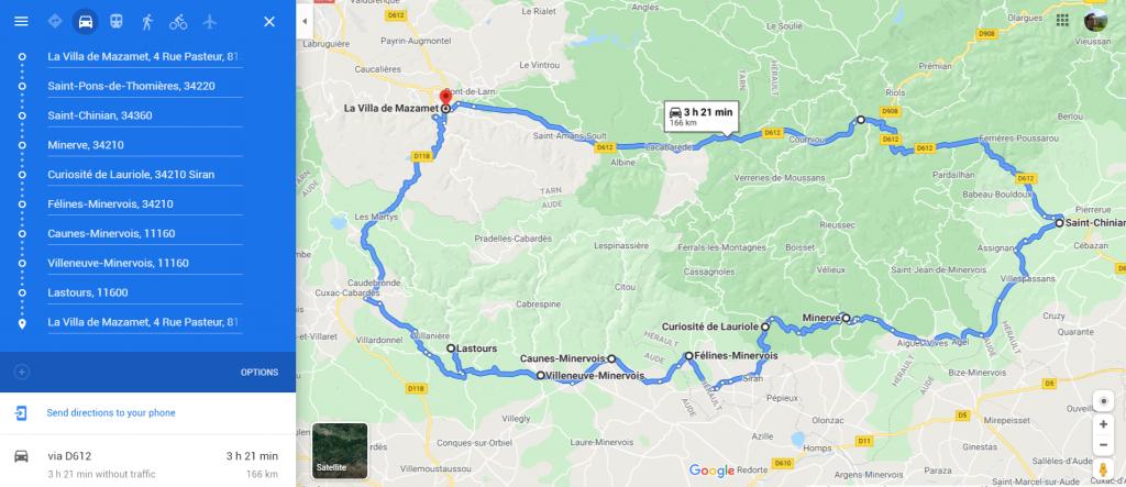 self drive tour Montagne Noire Minervois villa de mazamet